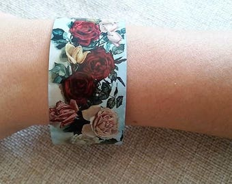 Cuff bracelet, Yard Long art, Red roses, Art bracelet, Rose painting