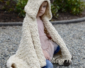 CROCHET PATTERN - Bronson Hooded Blanket (x-small, small, medium, large and x-large sizes)