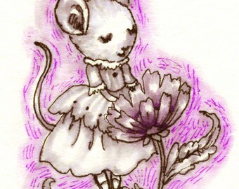 Chicory Mouse ACEO Original Art 2.5x3.5""