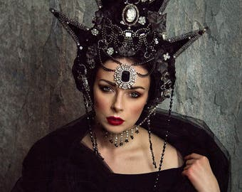 Black and Silver 'Black Star' Crystal Beaded Gothic Couture Headdress