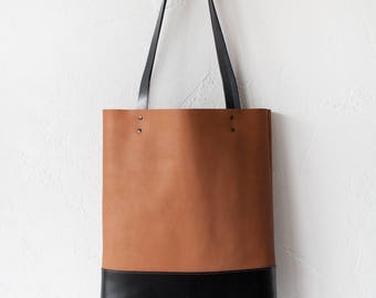 SALE Camel & Black Leather Tote bag No.TO-102