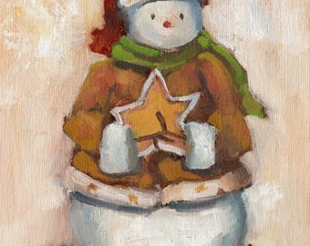 Small Still Life Oil Painting - Snowman Statue