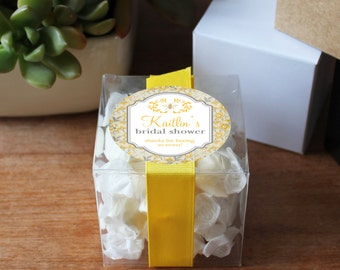 12 - Bee Themed Bridal Shower Favor Boxes - Personalized Favor Box | Floral Favor Label | 3X3 box | square favor box | Bee Baby Shower Favor