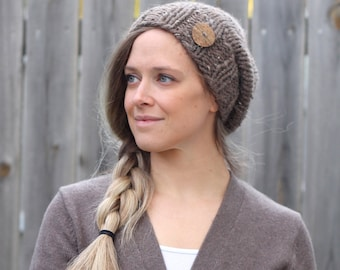 Knitted Slouchy Hat in Barley Brown- Dark Tan- with Wooden Button - Sizes Toddler, Child and Woman- Other colors available