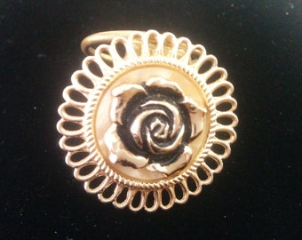 Scarf Clip West Germany Gold Tone Flower,