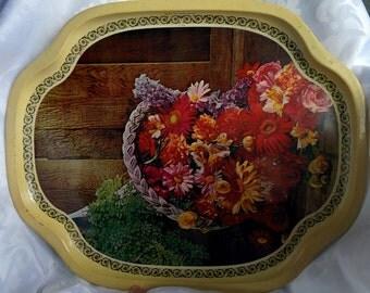 Vintage Floral Serving Tray, Vintage Tin Tray