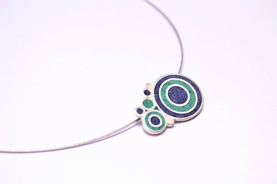 Sterling Silver Pendant, Blue and Green Bubbles, Modern Pendant, Contemporary Jewelry