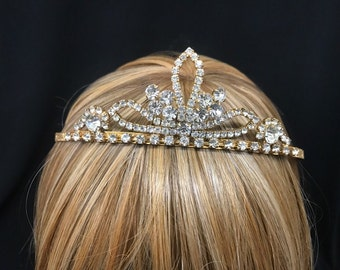 Vintage Petite Triple Leaf Rhinestone and Gold Tiara With Featured Grande Crystals