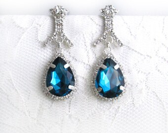 Wedding Blue Earrings Sapphire Clear Rhinestone Dangle Bridal Evening Glam Something Blue Silver Woman Jewelry Accessory Hollywood Glam