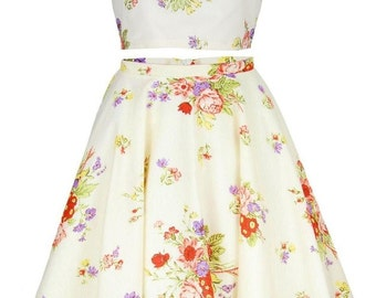 Clearance Sale - Cream Floral Crop Top And Skirt Set