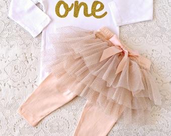 First Birthday outfit, ONE. Girl outfit 3 piece Glitter tutu skirt leggings, skirted leggings, Glitter bodysuit, headband