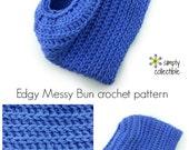 Edgy Messy Bun Hat crochet pattern ponytail hat messy bun hat - PDF