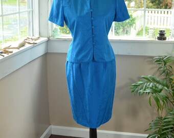 Vintage Blue Silk Skirt Suit Papell Too - S