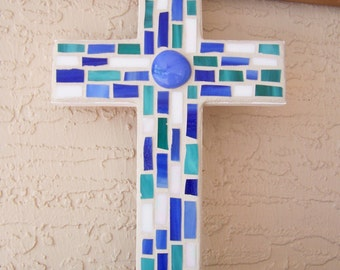 Unique Decorative Cross Wall Cross Stained Glass Mosaic Cross Wall Hanging Cross Blue Cross Handmade Cross Religious Gift Christmas Gift