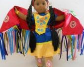 "Pow Wow Fancy Shawl dance dress ensemble fits 18"" dolls like American Girl doll hand made in USA"