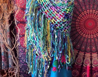 Multi Colored Blue, Green & Purple Gypsy Fringe Shawl, Hippie Gypsy Shabby Rag Wrap, Boho, Sparkly Gold, Chartreuse, Long Colorful Funky!
