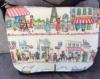 Messenger Bag Cross Body Bag Paris Street Cafe