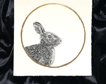 Cottontail Rabbit Sprouting Grass moon April Original Graphite Drawing with Gold Leaf Animal Portrait Inspired by the Full Moon Names