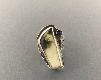 Variscite Gemstone Sterling Silver Ring  with Amethyst | Size 8.5 | The Bleu Giraffe | Reclaimed Silver | Eco Friendly | 160.00 Metalsmith