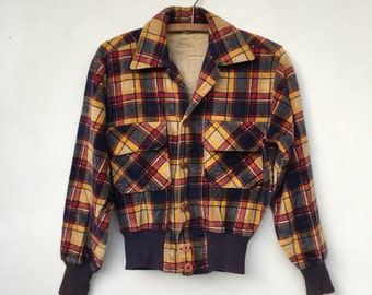 Vintage 50s/60s Plaid Cropped Distressed Jacket S