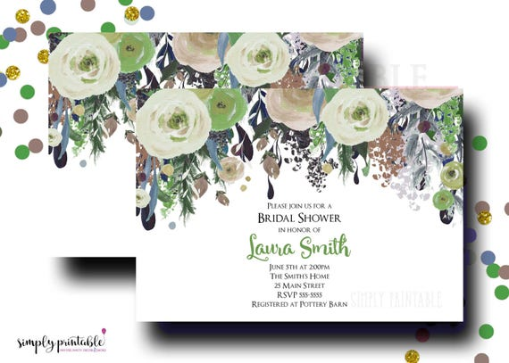 Green Bridal Shower Invitation, Wedding Shower Invite, Watercolor Bouquet