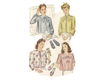 1940s Bed Jacket Pattern, Slipper Pattern, Bust 38, V Neckline, UNCUT, Simplicity 4756, Vintage Sewing Pattern