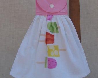 Popsicle Kitchen Tea Towel, Hanging Kitchen Dish Towel, Summer Popsicle Towel, Yellow Kitchen Decor