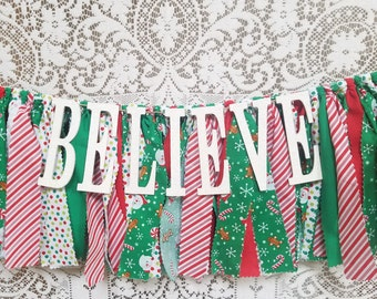 BELIEVE Christmas Banner - Mantel Decor - Red and Green Christmas Banner - Christmas Decor - Santa Banner - Candy Canes