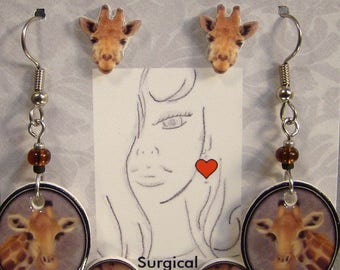 Giraffe Earrings Gift Set - Safari Giraffes Jewelry - Animal Zoo Jewellery