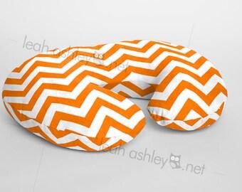 Boppy® Cover, Nursing Pillow Cover - Orange Chevron Minky - BC1