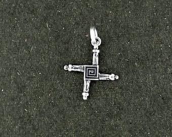 Sterling Silver St. Brigid's Cross Charm Pendant Split Ring Attachment