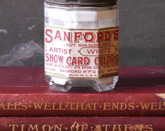 Vintage Bottle of Sanford's White Artist Show Card Colors Paint - Craft Room Decor