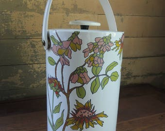 Retro Vinyl Ice Bucket wth Floral Design / Vintage Ice Bucket / Tall Ice Bucket / Vintage Bar Ware / Bar Supply / Picnic Supply
