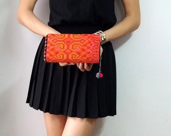 Hmong Vintage Style Ethnic Embroidered Thai Boho Hobo Small Clutch Purse Bag
