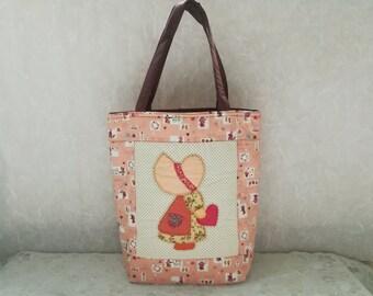Sue Quilted Bag - Applique Bag - Cotton Handbags - Patchwork Bag - Tote Handbag - Shopping bag Peach Color