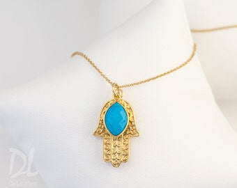 Turquoise Necklace, December Birthstone Necklace, Gold Hamsa Hand Necklace, Good Luck Hand Necklace, Birthstone Jewelry Christmas Gift