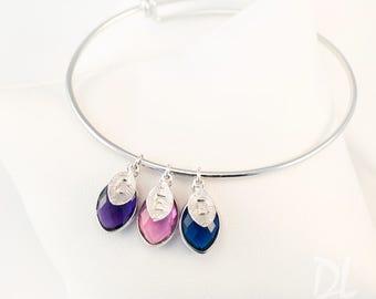 Family Tree Bracelet - Mothers Day Gift for Grandma - Nana Birthstone Charm Bangle - Mothers Bracelet - Personalized Bangle - New Mom Gift