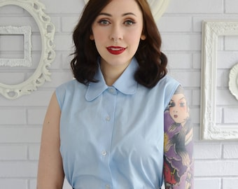Vintage 1960s Blue Button Down Sleeveless Blouse with Peter Pan Collar by SSK Size Medium