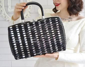 Vintage 1960s Black Vinyl and Metal Woven Handbag with Red Lining by Princess Charming by Atlas