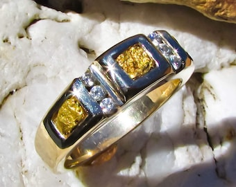 Gold Nugget Rings, Gold Nugget Ring, Gold Nugget Diamond Ring, Gold Nugget Diamond Rings, Gold Nugget Jewelry, 14k Mens Gold Nugget Ring,