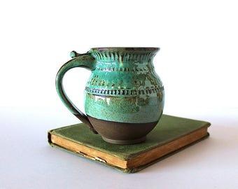 Pottery Coffee Mug in Turquoise Green on dark chocolate clay, Handmade Wheel Thrown Ceramics
