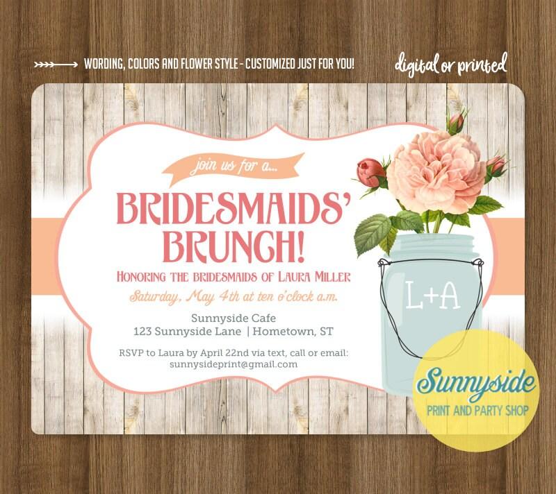Bridesmaids Brunch invitation rustic mason jar brunch