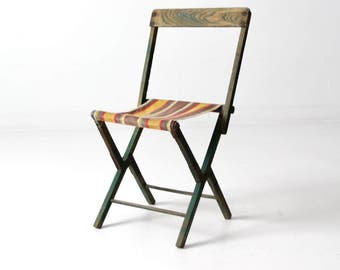 vintage camp stool, wood folding chair with stripe canvas seat