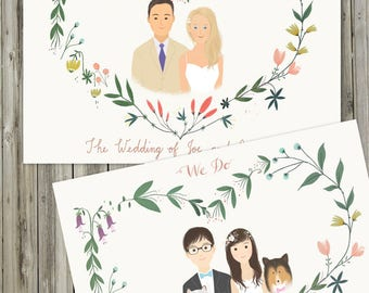 Printable Custom Portrait Wedding Invitation -  Illustrated Floral Wedding Invities - PDF -Blank Card/ 2 sided Flat Card