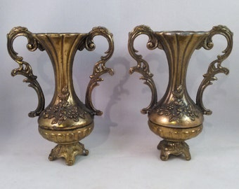 Two Petite Italian Highly Ornamented Metal Vases//Florid Bud Vase//Ornate Scrollwork Handles//Rococo Style//Late Baroque Style/Valentine's