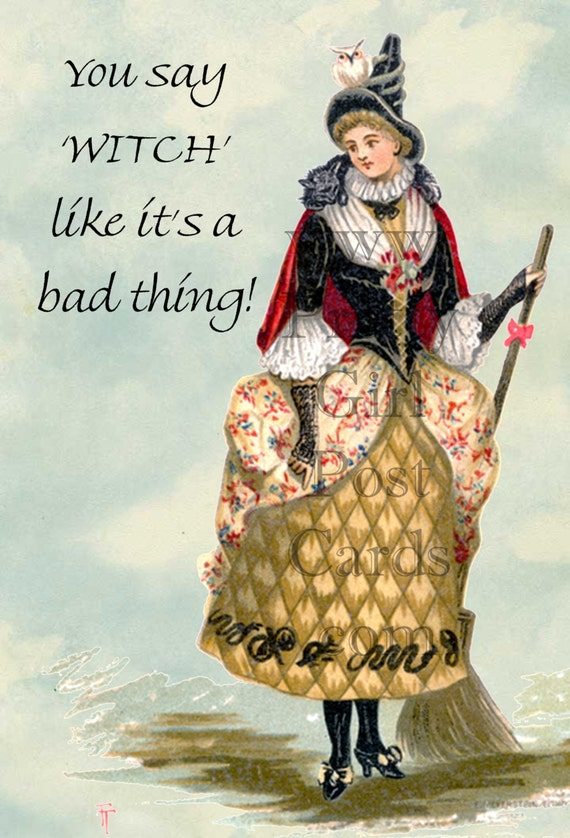 Marie Antoinette Card. Witch. Victorian. Good Witch. Bad Witch. Postcard. Wizard of Oz. Victorian Witch. Free Shipping. Pretty Girl Postcard
