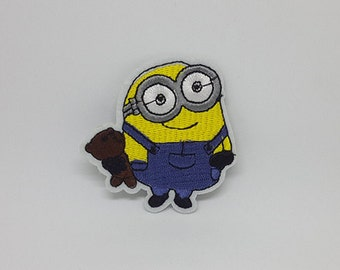 "Bob Minion Patch Cartoon Patches Movie Patches Iron On Patch size 2 1/2"" x 2 1/2"""