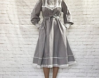 RARE Vintage 70s Gunne Sax Gray Belted Tent Midi Prairie Dress High Collar Pockets Puff Sleeves L XL