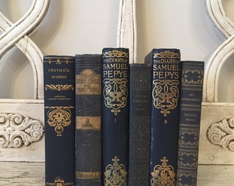Large Antique Book Stack - Rustic Home Decor - Library Wedding Book Bundle - Dark Blue Books