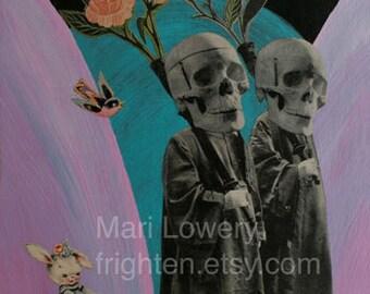 Skull Art Print, Colorful Weird Art 8.5 x 11 inch Print, Mixed Media Collage Creepy Wall Decor